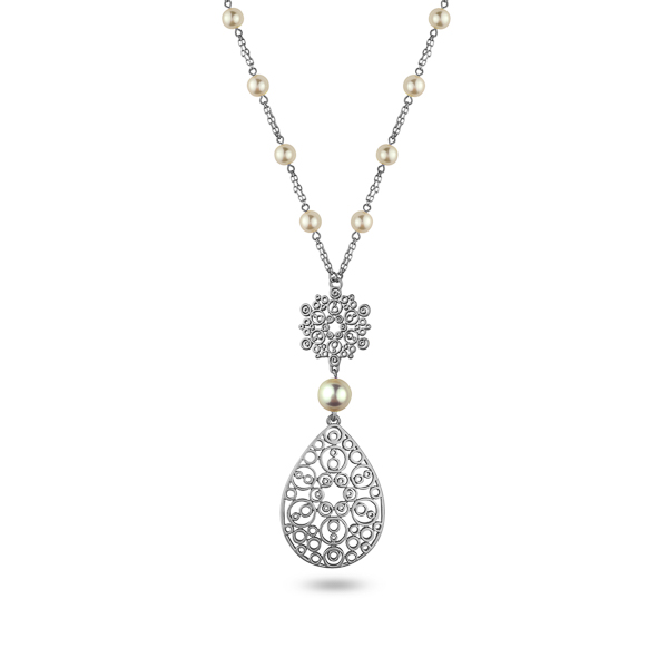 Silvertone Plated Pearl and Filigree Teardrop Necklace