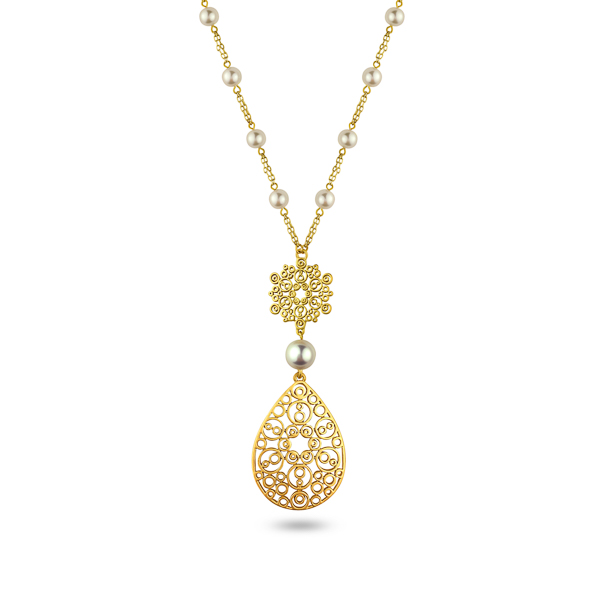 Goldtone Plated Pearl and Filigree Teardrop Necklace