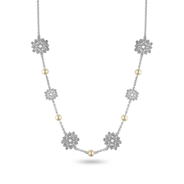 Silvertone Plated Pearl Filigree Necklace