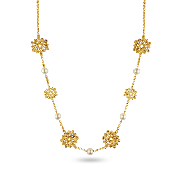 Goldtone Plated Pearl Filigree Necklace