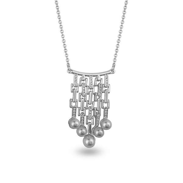 Rhodium Plated Dangling Pearls Crystal Necklace