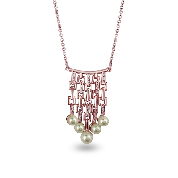Rose Gold Plated Dangling Pearls Crystal Necklace