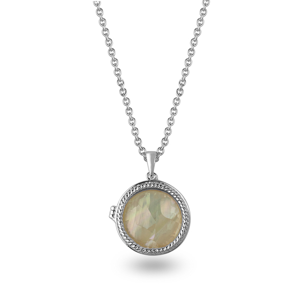 Rhodium Plated Mother of Pearl Locket Necklace