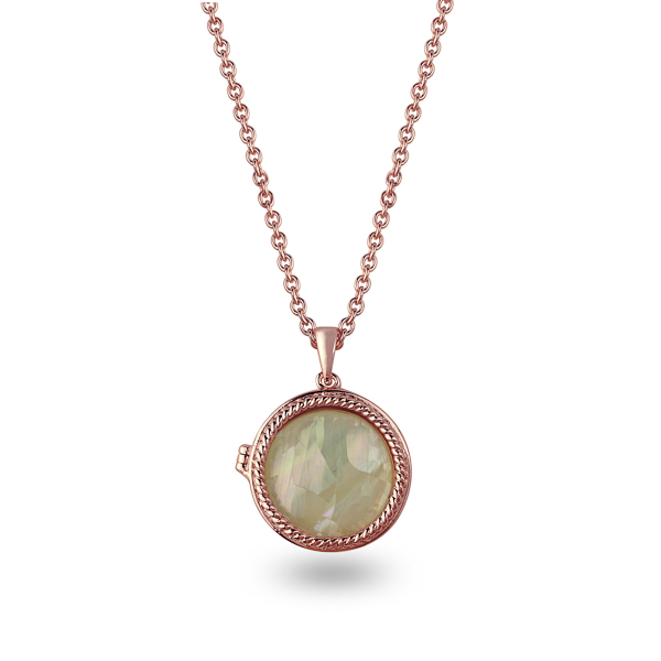 Rose Gold Plated Mother of Pearl Locket Necklace