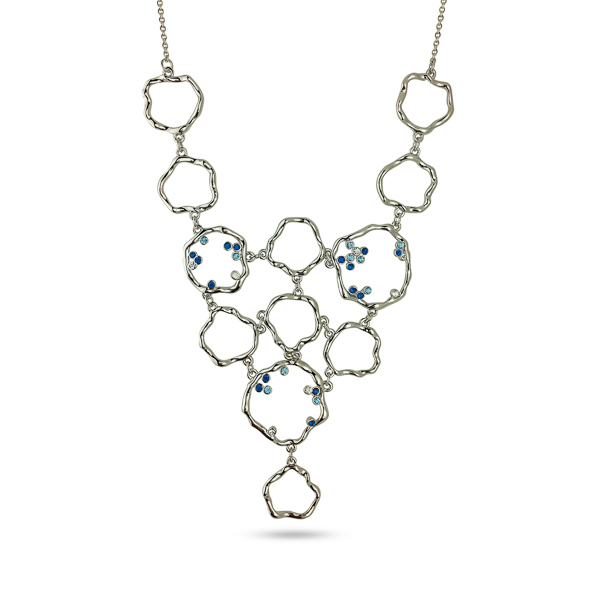 Rhodium Plated Crystal Bib Necklace