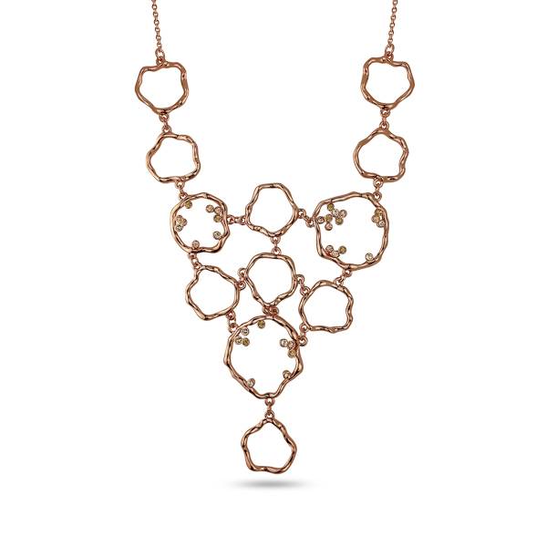 Rose Gold Plated Crystal Bib Necklace