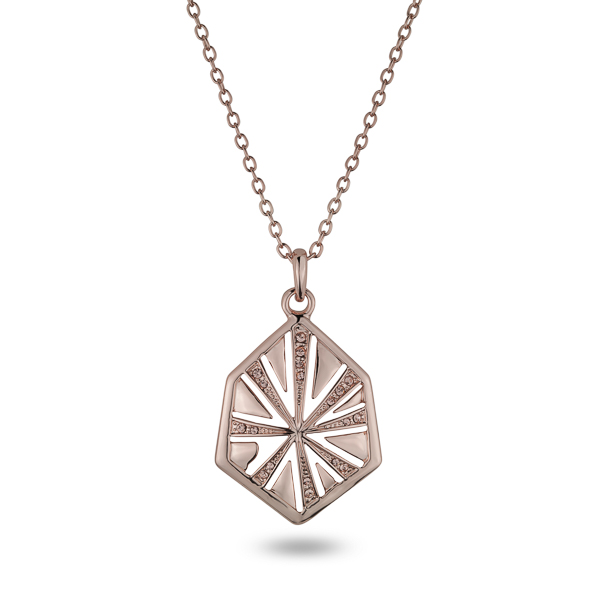 Rose Gold Plated Hexagon Crystal Necklace