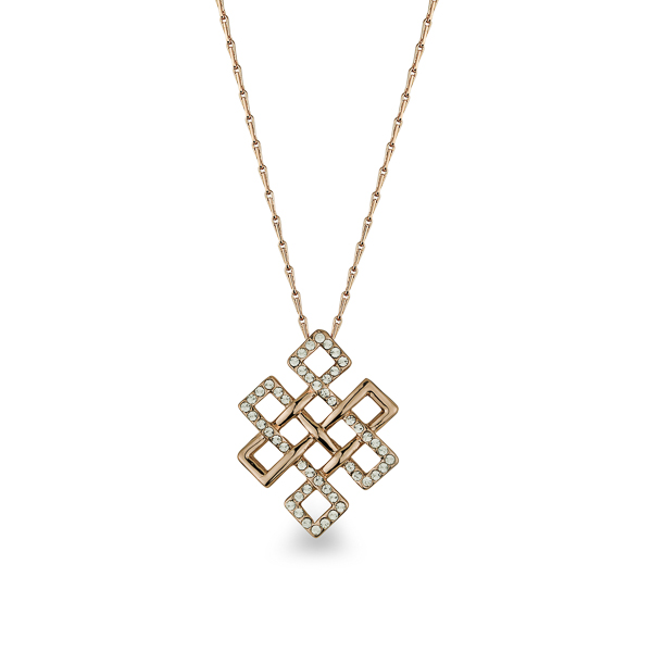 Rose Gold Plated Criss Cross Crystal Necklace