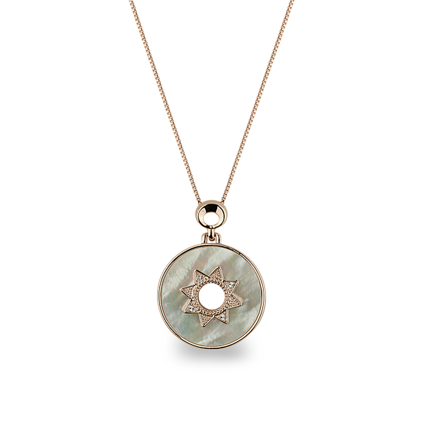 Rose Gold Plated Mother of Pearl Two Sided Star Necklace