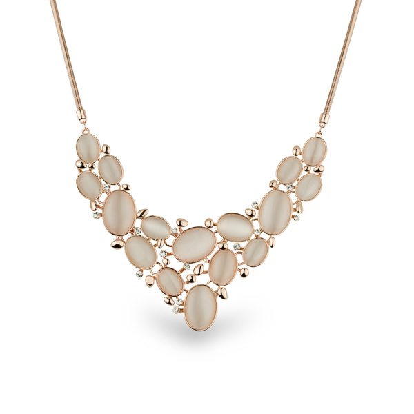 Rose Gold Plated Cat Eye Statement Necklace