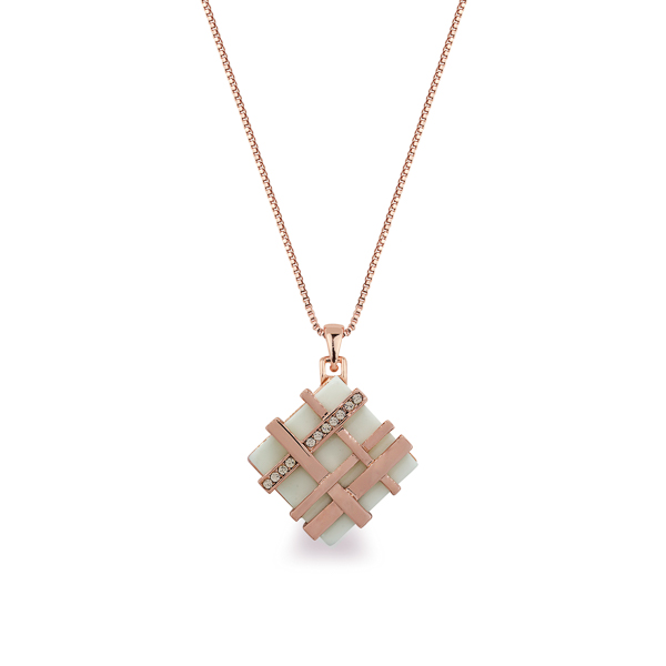 Rose Gold Plated Criss Cross Crystal and Resin Stone Necklace