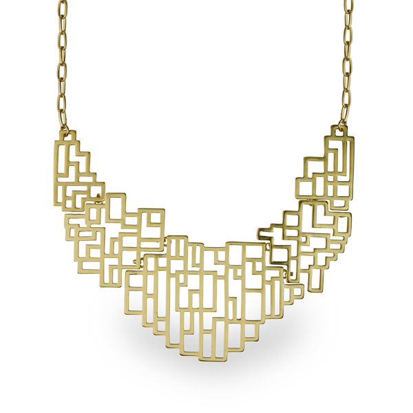 14K Gold Plated Matt Geometrical Necklace