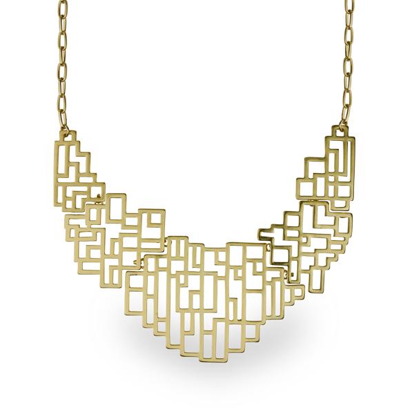 14K Gold Plated Matt Geometrical Necklace
