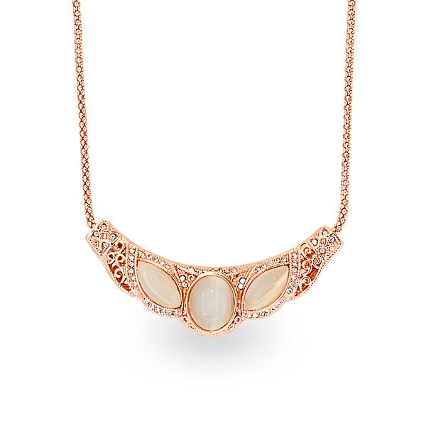 Rose Gold Plated Filigree and Cat Eye Necklace