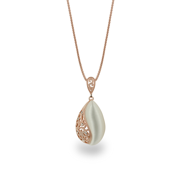 Rose Gold Plated Cat Eye Tear Drop Necklace