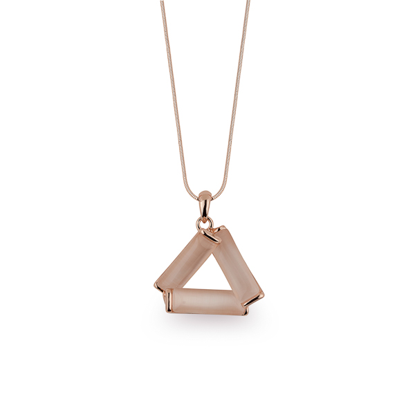 Rose Gold Plated Cat Eye Triangle Necklace