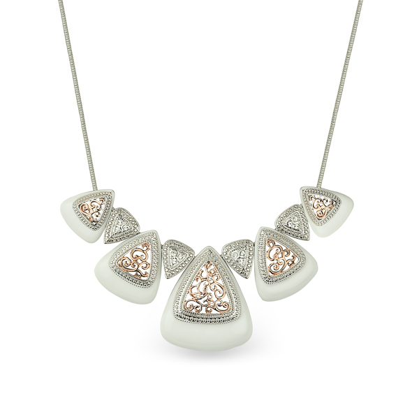 Two Tone Plated Filigree Statement Necklace