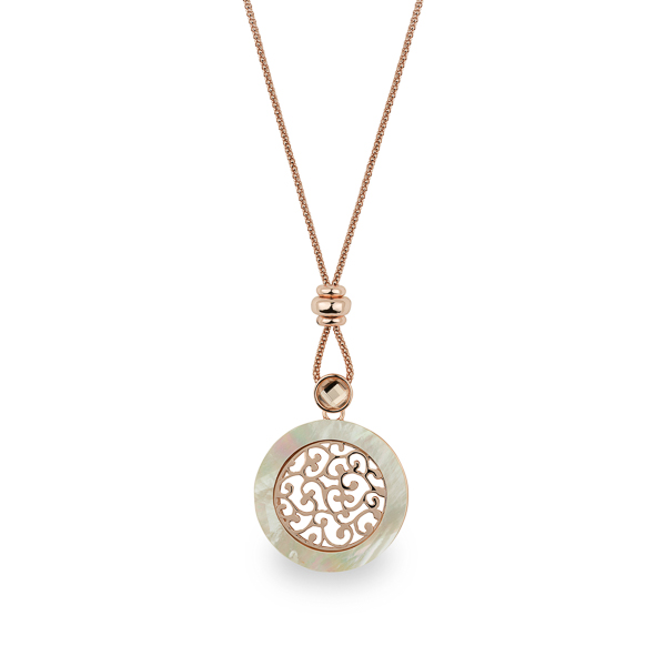 Rose Gold Plated Mother of Pearl and Filigree Necklace