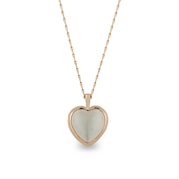 Rose Gold Plated Cat Eye and Glass Stone Two Sided Heart Necklace