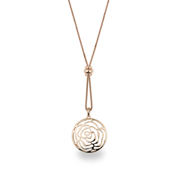 Rose Gold Plated Rose Filigree Long Necklace