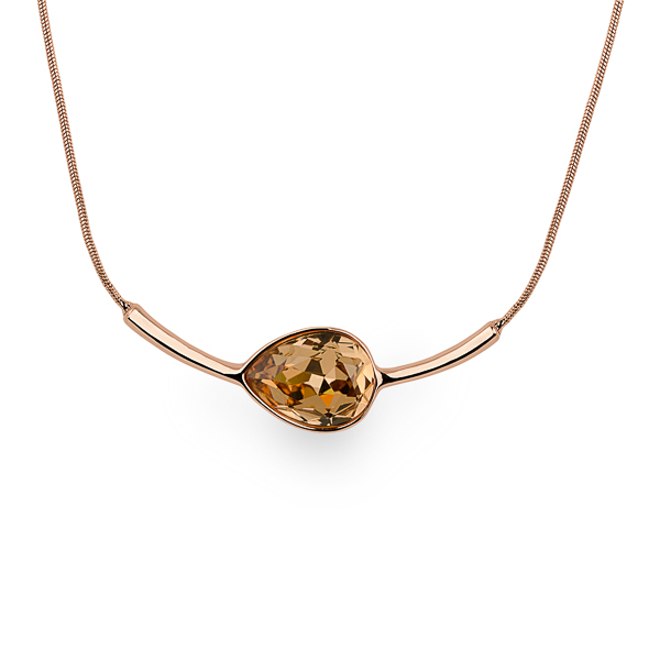 Rose Gold Plated Peach Tear Glass Stone Necklace