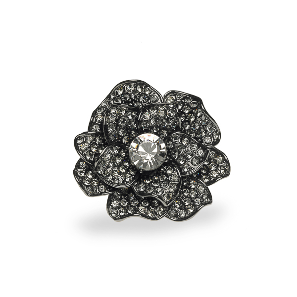 Black Rhodium Plated Crystal Flower Ring