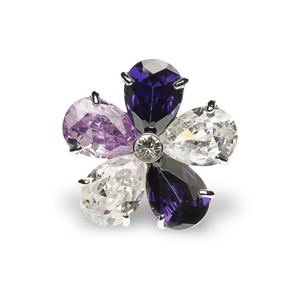 Rhodium Plated Diamond Cut Glass Stone Flower Ring