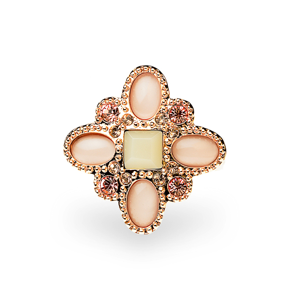 Rose Gold Plated Pink Resin and Crystal and Glass Stone Ring