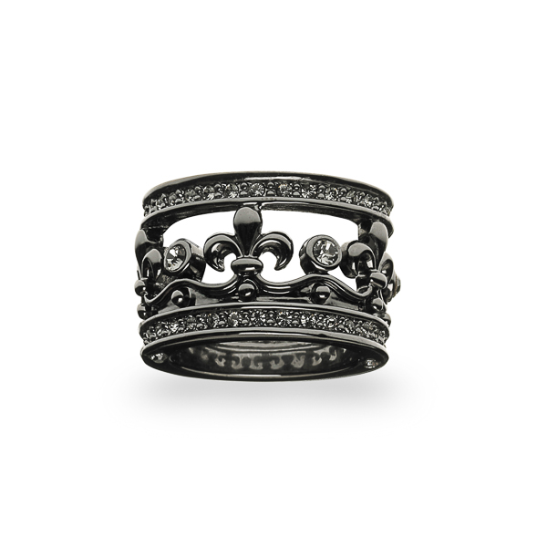 Black Rhodium Plated Fleur-de-lis Crystal Ring
