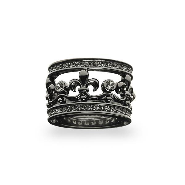 Black Rhodium Plated Fleur-de-lis Crystal Ring