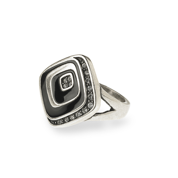 Rhodium Plated Black Enamel and Crystal Square Ring