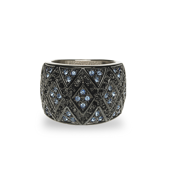 Black Rhodium and Rhodium Plated Crystal Diamonds Ring