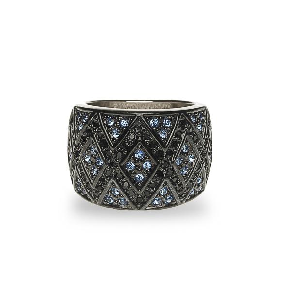 Black Rhodium and Rhodium Plated Crystal Diamonds Ring