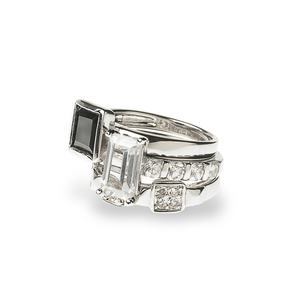Rhodium Plated Multi Stone Stackable Ring Set