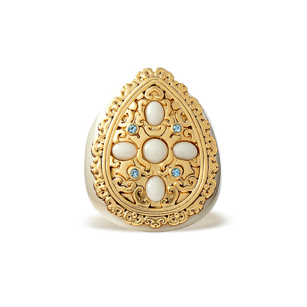 14K Gold Plated Filigree Tear Crystal Resin Stone Ring