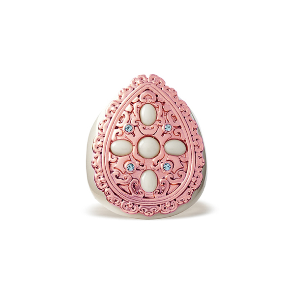 Rose Gold Plated Filigree Tear Crystal Resin Stone Ring