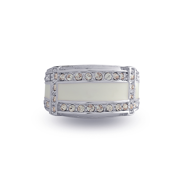 Rhodium Plated Enamel and Crystal Ring
