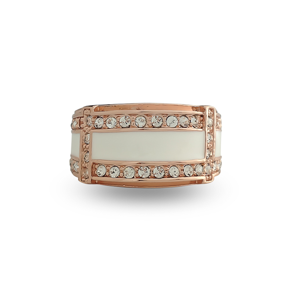 Rose Gold Plated Enamel and Crystal Ring
