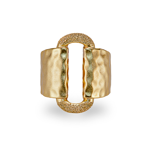 14K Gold Plated Textured Ring