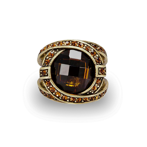Oxidized Bronze Plated Topaz Crystal and Glass Stone Ring