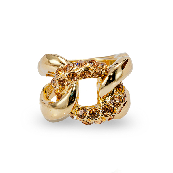 14K Gold Plated Topaz Crystal Link Ring