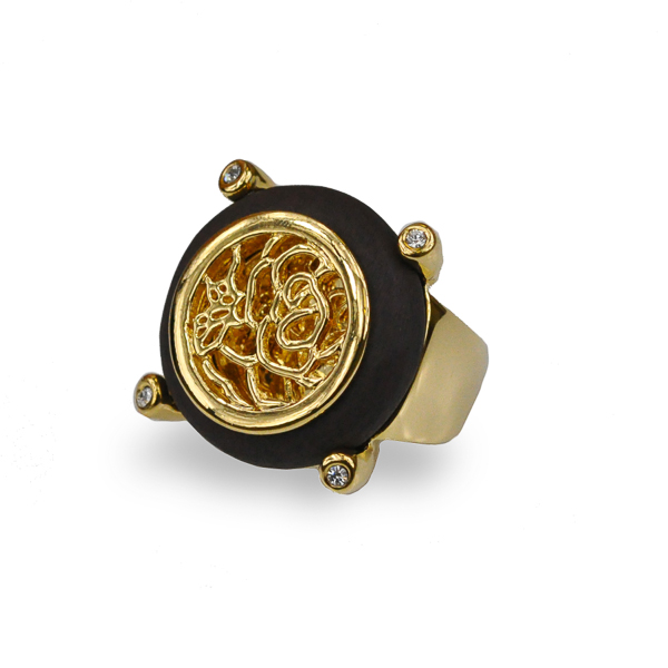 14K Gold Plated Resin Stone Filigree Ring