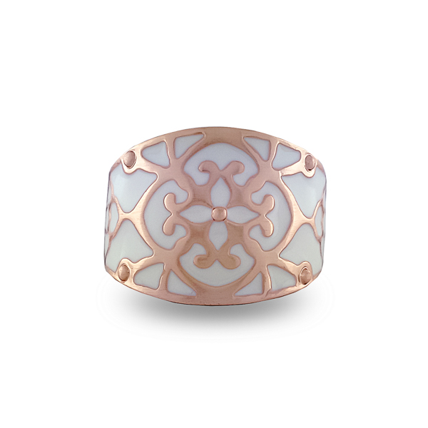 Rose Gold Plated White Enamel Ring