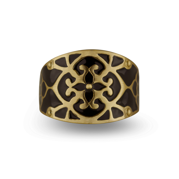 14K Gold Plated Black Enamel Ring