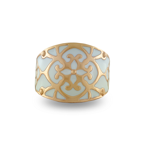 14K Gold Plated White Enamel Ring