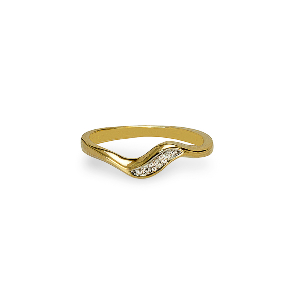 14K Gold Plated Small Crystal Band Ring