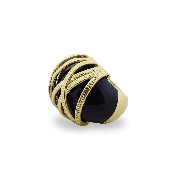 14K Gold Plated Black Resin Stone Ring