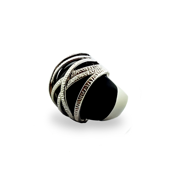 Rhodium Plated Black Resin Stone Ring