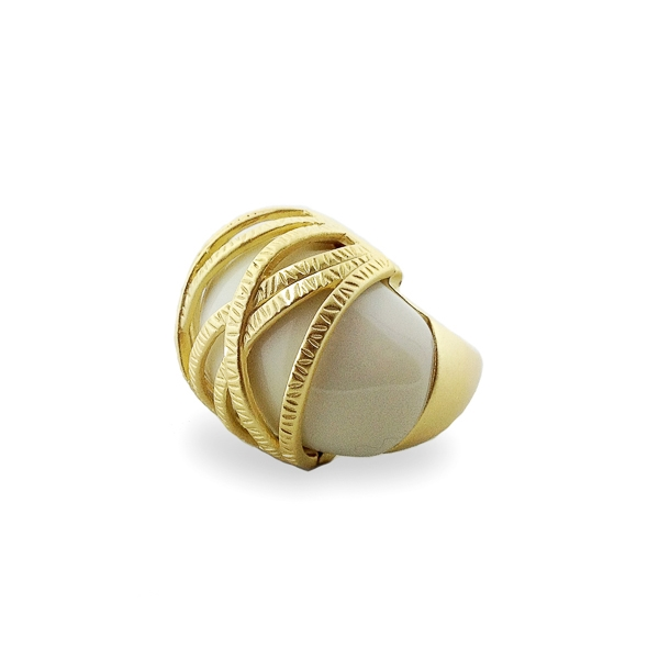 14K Gold Plated White Resin Stone Ring