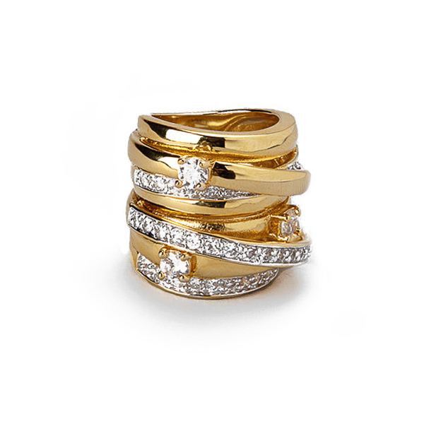 14K Gold Plated CZ Statement Ring